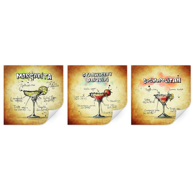 Wallprint Cocktails Set 01 (3-teilig)