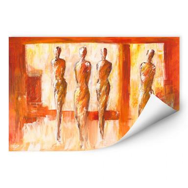 Wallprint Schüssler - Vier Figuren in Orange