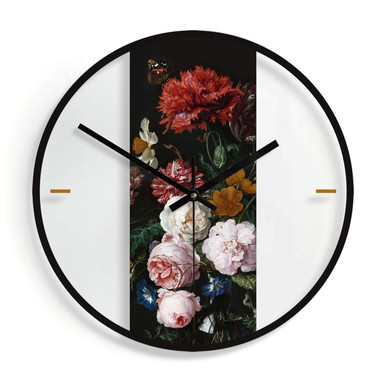 Wanduhr aus Glas - Heem - Stillleben mit Blumen in einer Glasvase Ø30cm - Bild 1