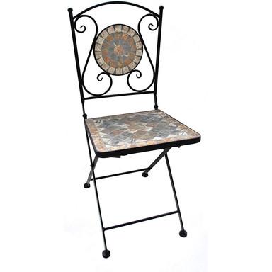 Gartenstuhl mit schönem Stein-Mosaik Muster, 36x36x89cm, robust, Innen- und Aussen, Winterfest - Bild 1