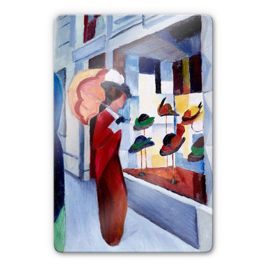 Glasbild Macke - Frau mit Sonnenschirm vor Hutladen