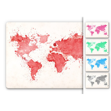 Glasbild Weltkarte Aquarell