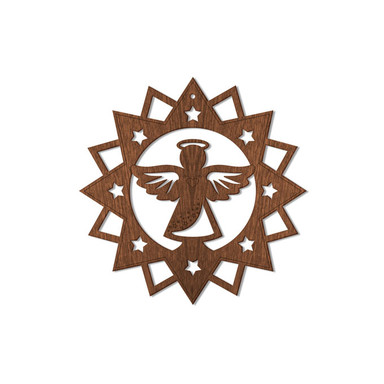 Holzkunst Mahagoni - Engel im Stern