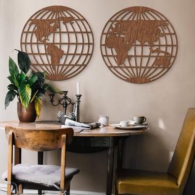 Holzkunst Mahagoni - Weltkarte - Globus (2-teilig)