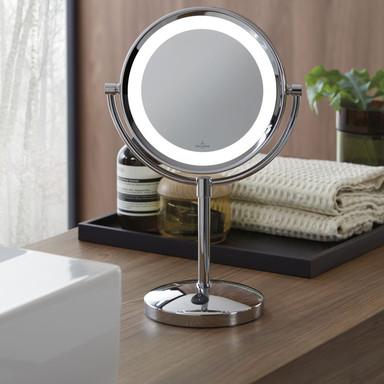 Tischleuchte London mit Spiegel in Chrom rund