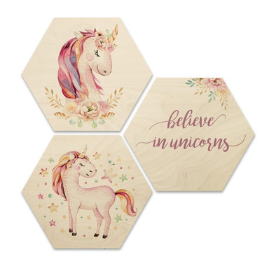 Hexagon - Holz Birke-Furnier - Kvilis - Believe in Unicorns - Einhörner (3er Set)