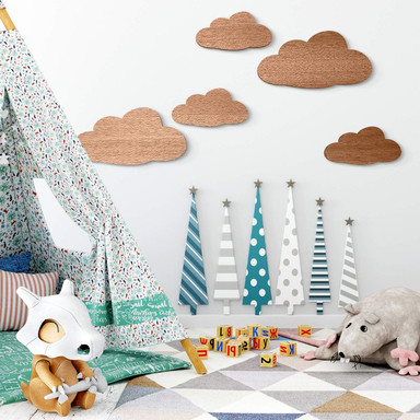 Holzdeko Mahagoni - Wolken-Set (5-teilig)