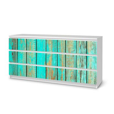 Möbelfolie IKEA Malm Kommode 6 Schubladen (breit) - Wooden Aqua