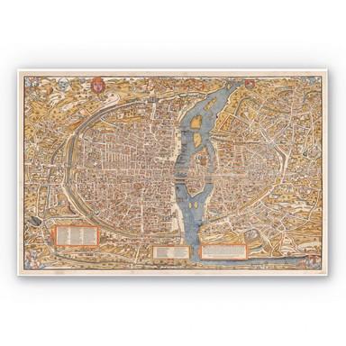 Wandbild Historische Karte von Paris