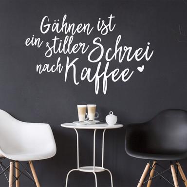Wandtattoo Gähnen ist ein stiller Schrei nach Kaffee 02