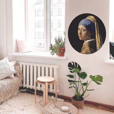 Wandtattoo Vermeer - Das Mädchen mit dem Perlenohrgehänge - Rund