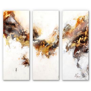 Acrylglasbild Fedrau - Flüssiges Gold 03 (3-teilig)