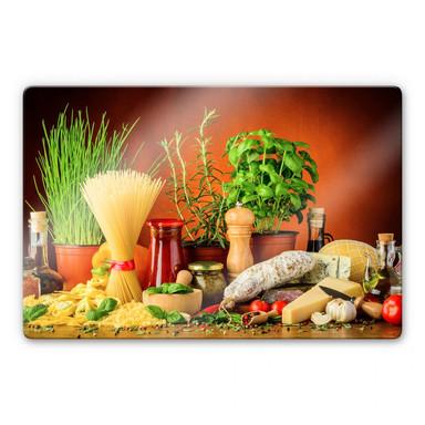 Glasbild Italienisch Kochen