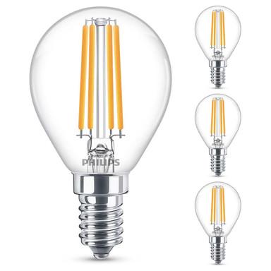 Philips LED Lampe ersetzt 60W, E14 Tropfenform P45. klar, warmweiss, 806 Lumen, nicht dimmbar, 4er Pack Energieklasse A&&