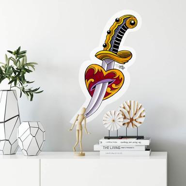 Wandsticker Miami Ink Schwert mit Herz