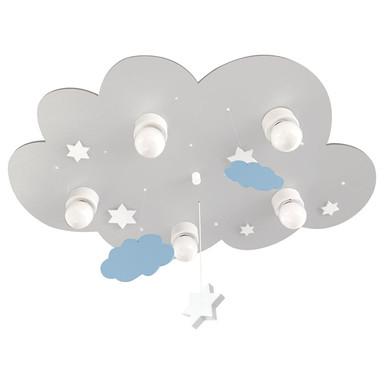 Deckenleuchte Wolke grau mit Wolken und Sternen, E14