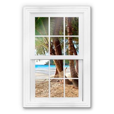 Glasbild 3D Fenster - Hängematte