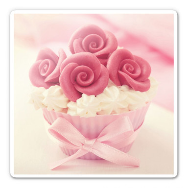 Glasbild Roses on Cupcake
