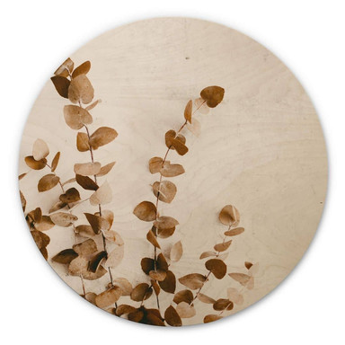 Holzbild Annie - Getrocknete Blätter - Rund