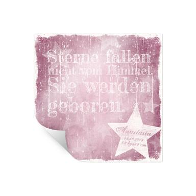 Poster Wunschtext & Name - Sterne fallen nicht vom Himmel (rosa)