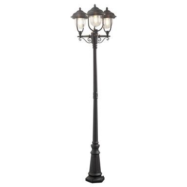 Stilvoller Kandelaber Parma mit 3 Leuchtenköpfen aus Aluminium in schwarz und Acrylglas in klar, E27 Fassung, IP43