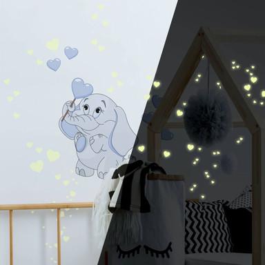Wandsticker Elefantenbaby mit Herzen (blau) + Leuchtsticker