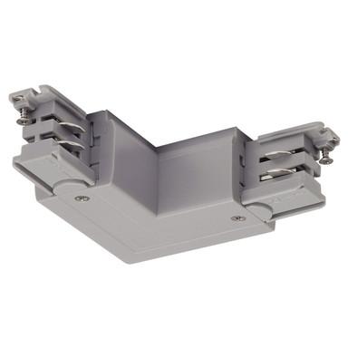 3-Phasen S-Track, Aufbauschiene, L-Verbinder, silber-grau, Schutzleiter rechts