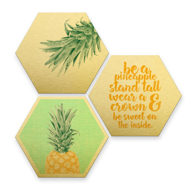 Hexagon - Alu-Dibond-Goldeffekt - Ananas (3er Set)