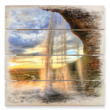 Holzbild Seljalandsfoss Wasserfall