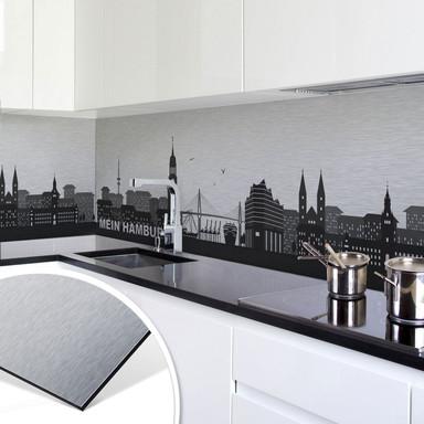 Küchenrückwand - Alu-Dibond Silbereffekt - Mein Hamburg