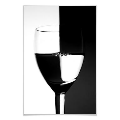 Poster Weinglas schwarz/weiss