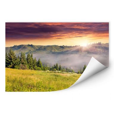 Wallprint Bergtal im Nebel