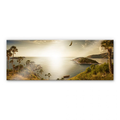 Acrylglasbild Sonnenuntergang im Paradies - Panorama