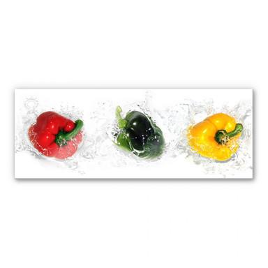 Acrylglasbild Splashing Paprika - Panorama