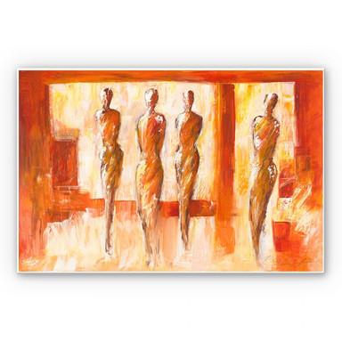 Hartschaumbild Schüssler - Vier Figuren in Orange