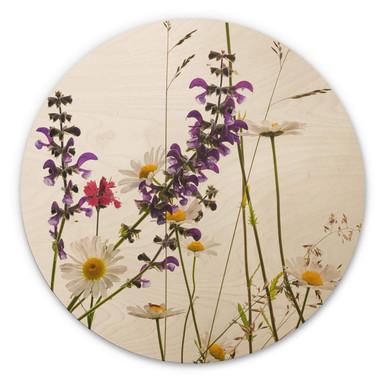 Holzbild Kadam - Flora Marguerite - Rund