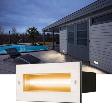 LED Wandeinbauleuchte Brick, IP65. Aluminium, symmetrisch