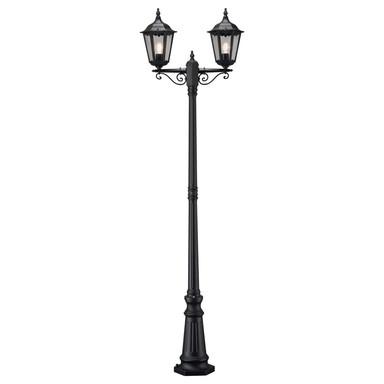 Dekorativer Kandelaber Firenze mit 2 Leuchtenköpfenaus Aluminium in schwarz und Glas in klar, E27 Fassung, IP43