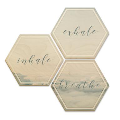 Hexagon - Holz Birke-Furnier - Inhale Exhale Breathe (3er Set)