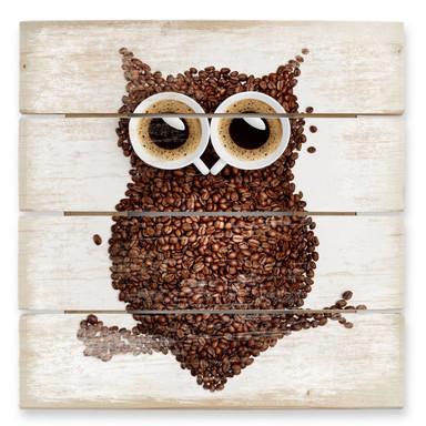 Holzbild Kaffeeeule