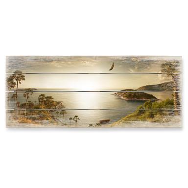 Holzbild Sonnenuntergang im Paradies - Panorama
