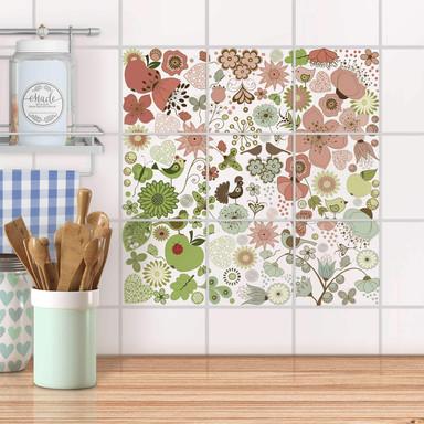 Klebefliesen - Flower Pattern