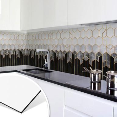Küchenrückwand Fredriksson - Hexagone: Schwarz und Grau