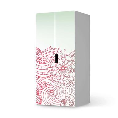 Möbelfolie IKEA Stuva / Malad Schrank - 2 grosse Türen - Floral Doodle