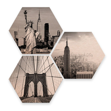 Hexagon - Alu-Dibond-Kupfereffekt - Impression of New York City (3er Set)