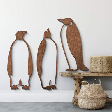 Holzkunst Mahagoni - Pinguine (3-teilig)