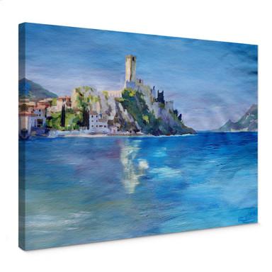 Leinwandbild Bleichner - Malcesine mit der Castello Scaligero