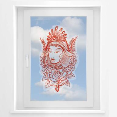Fensterbild Miami Ink Frau mit Pfauenfedern
