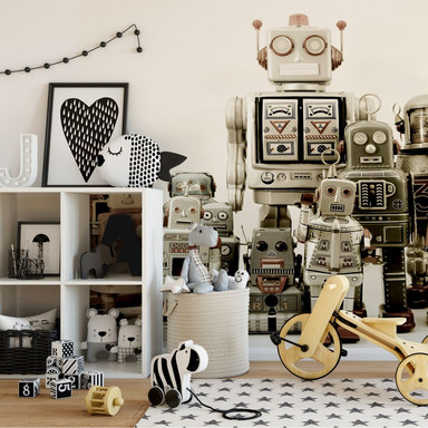 Fototapete Versammlung der Roboter - 240x260cm - Bild 1