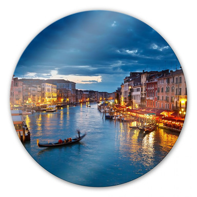 Glasbild Beleuchtetes Venedig - rund